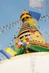 man climbing swoyambhu