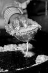 pouring dough deep fry